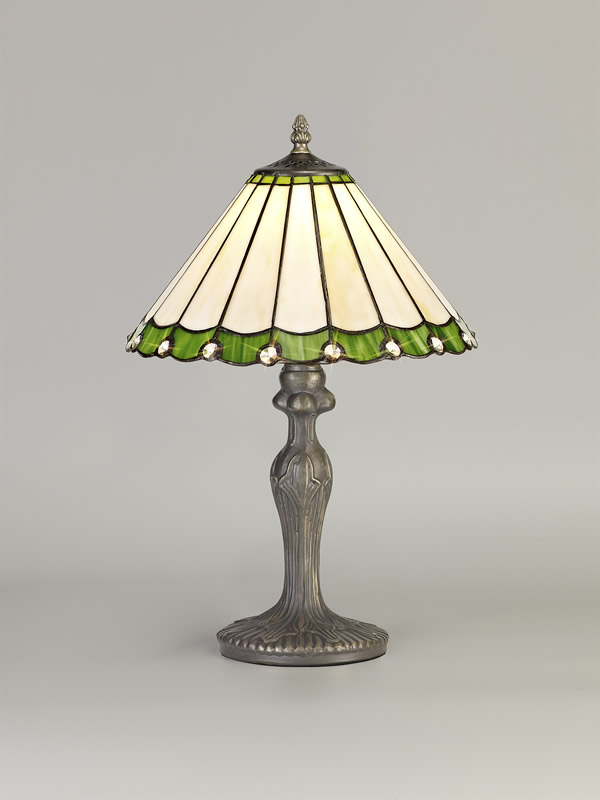 Lichfield Lighting St John 1 Light Curved Table Lamp E27 With 30cm Tiffany Shade, Green/Credlock/Crystal/Aged Antique Brass photo 2