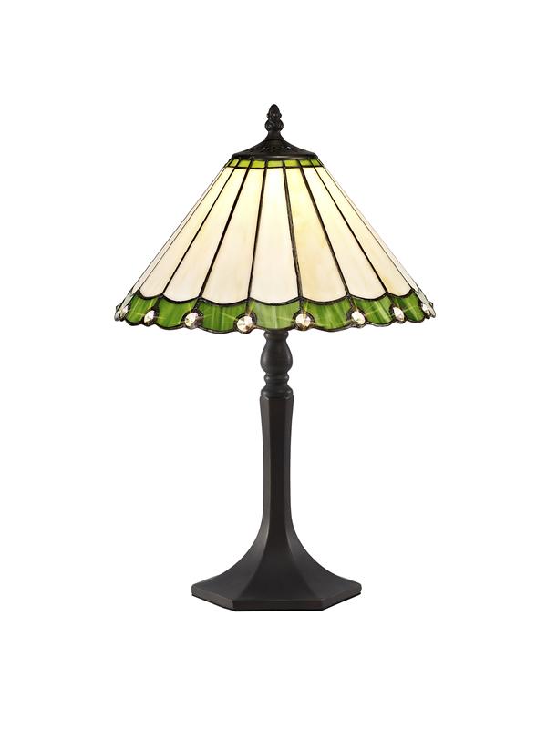 Lichfield Lighting St John 1 Light Octagonal Table Lamp E27 With 30cm Tiffany Shade, Green/Credlock/Crystal/Aged Antique Brass photo 1