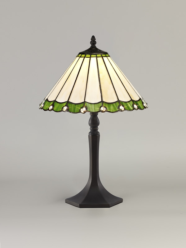 Lichfield Lighting St John 1 Light Octagonal Table Lamp E27 With 30cm Tiffany Shade, Green/Credlock/Crystal/Aged Antique Brass photo 2