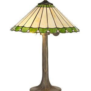 Lichfield Lighting St John 2 Light Tree Like Table Lamp E27 With 40cm Tiffany Shade, Green/Credlock/Crystal/Aged Antique Brass photo 1
