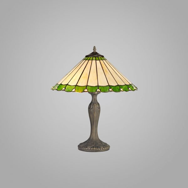 Lichfield Lighting St John 2 Light Curved Table Lamp E27 With 40cm Tiffany Shade, Green/Credlock/Crystal/Aged Antique Brass photo 2