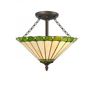 Lichfield Lighting St John 3 Light Semi Ceiling E27 With 40cm Tiffany Shade, Green/Credlock/Crystal/Aged Antique Brass photo 1