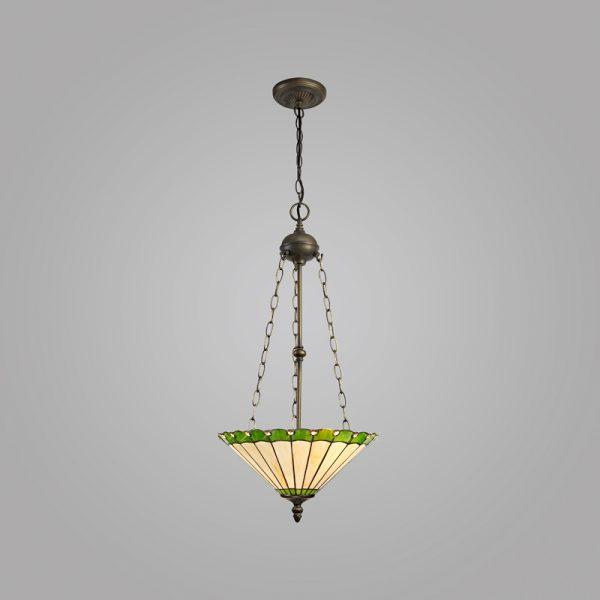 Lichfield Lighting St John 3 Light Uplighter Pendant E27 With 40cm Tiffany Shade, Green/Credlock/Crystal/Aged Antique Brass photo 2