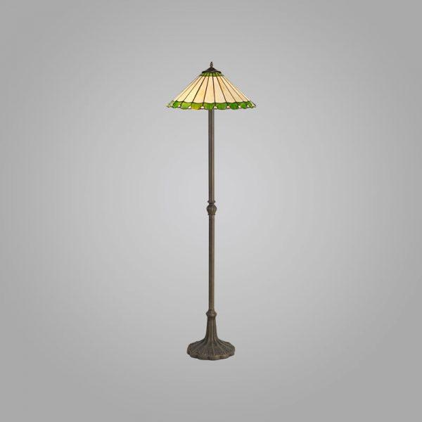 Lichfield Lighting St John 2 Light Leaf Design Floor Lamp E27 With 40cm Tiffany Shade, Green/Credlock/Crystal/Aged Antique Brass photo 2