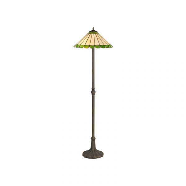Lichfield Lighting St John 2 Light Leaf Design Floor Lamp E27 With 40cm Tiffany Shade, Green/Credlock/Crystal/Aged Antique Brass photo 1
