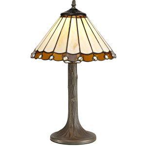 Lichfield Lighting St John 1 Light Tree Like Table Lamp E27 With 30cm Tiffany Shade, Amber/Credlock/Crystal/Aged Antique Brass photo 1