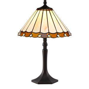 Lichfield Lighting St John 1 Light Octagonal Table Lamp E27 With 30cm Tiffany Shade, Amber/Credlock/Crystal/Aged Antique Brass photo 1