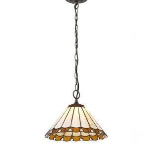Lichfield Lighting St John 1 Light Downlighter Pendant E27 With 30cm Tiffany Shade, Amber/Credlock/Crystal/Aged Antique Brass photo 1
