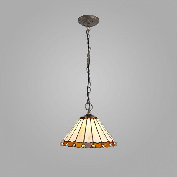 Lichfield Lighting St John 3 Light Downlighter Pendant E27 With 30cm Tiffany Shade, Amber/Credlock/Crystal/Aged Antique Brass photo 2