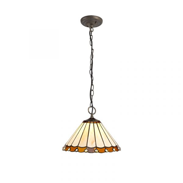 Lichfield Lighting St John 3 Light Downlighter Pendant E27 With 30cm Tiffany Shade, Amber/Credlock/Crystal/Aged Antique Brass photo 1