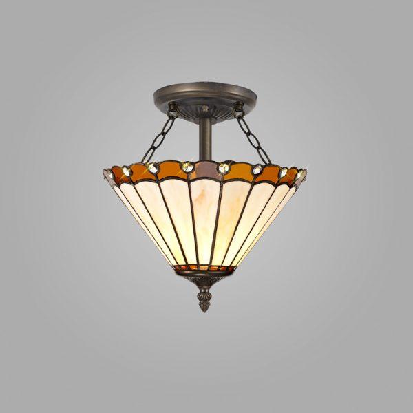Lichfield Lighting St John 2 Light Semi Ceiling E27 With 30cm Tiffany Shade, Amber/Credlock/Crystal/Aged Antique Brass photo 2
