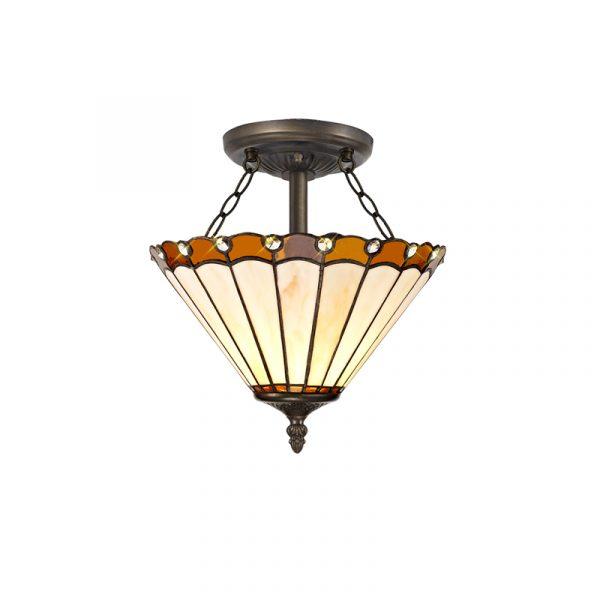 Lichfield Lighting St John 2 Light Semi Ceiling E27 With 30cm Tiffany Shade, Amber/Credlock/Crystal/Aged Antique Brass photo 1