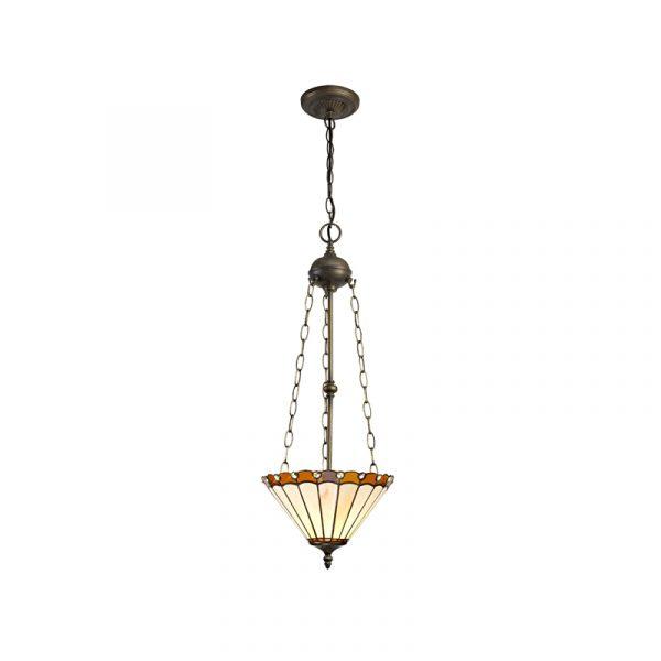 Lichfield Lighting St John 3 Light Uplighter Pendant E27 With 30cm Tiffany Shade, Amber/Credlock/Crystal/Aged Antique Brass photo 1