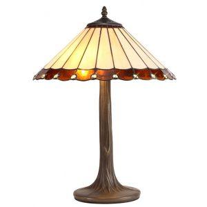 Lichfield Lighting St John 2 Light Tree Like Table Lamp E27 With 40cm Tiffany Shade, Amber/Credlock/Crystal/Aged Antique Brass photo 1