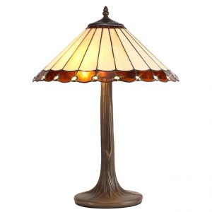 Lichfield Lighting St John 2 Light Curved Table Lamp E27 With 40cm Tiffany Shade, Amber/Credlock/Crystal/Aged Antique Brass photo 1