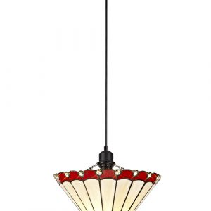 Lichfield Lighting St John 1 Light Uplighter Pendant E27 With 30cm Tiffany Shade, Red/Credlock/Crystal/Black photo 1