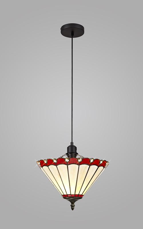 Lichfield Lighting St John 1 Light Uplighter Pendant E27 With 30cm Tiffany Shade, Red/Credlock/Crystal/Black photo 2