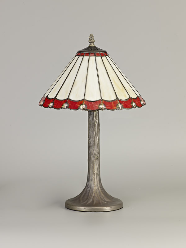 Lichfield Lighting St John 1 Light Tree Like Table Lamp E27 With 30cm Tiffany Shade, Red/Credlock/Crystal/Aged Antique Brass photo 2