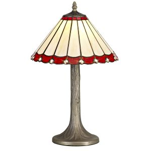 Lichfield Lighting St John 1 Light Tree Like Table Lamp E27 With 30cm Tiffany Shade, Red/Credlock/Crystal/Aged Antique Brass photo 1