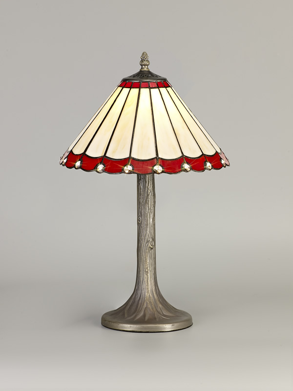 Lichfield Lighting St John 1 Light Tree Like Table Lamp E27 With 30cm Tiffany Shade, Red/Credlock/Crystal/Aged Antique Brass photo 3