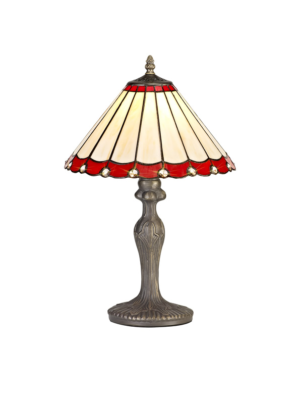 Lichfield Lighting St John 1 Light Curved Table Lamp E27 With 30cm Tiffany Shade, Red/Credlock/Crystal/Aged Antique Brass photo 1
