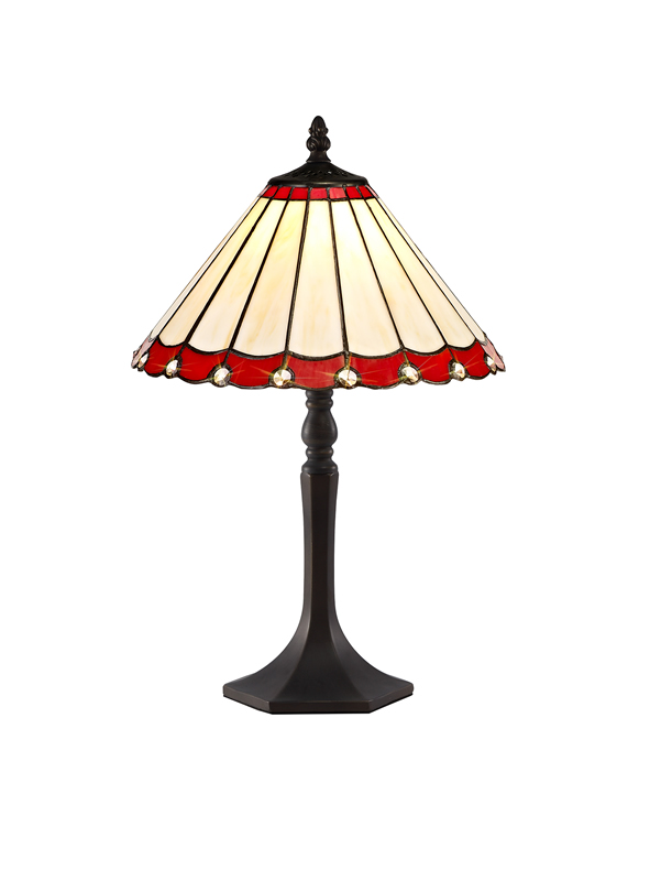 Lichfield Lighting St John 1 Light Octagonal Table Lamp E27 With 30cm Tiffany Shade, Red/Credlock/Crystal/Aged Antique Brass photo 1