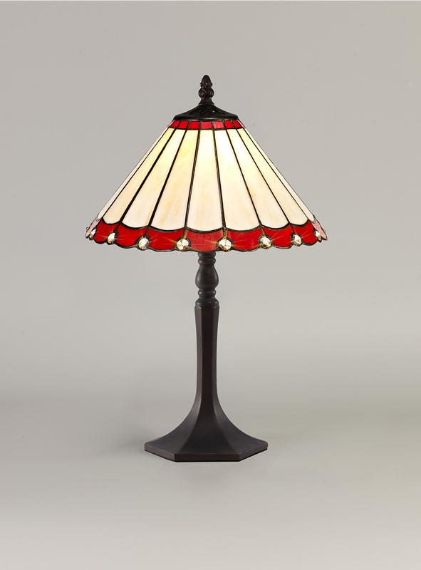 Lichfield Lighting St John 1 Light Octagonal Table Lamp E27 With 30cm Tiffany Shade, Red/Credlock/Crystal/Aged Antique Brass photo 2