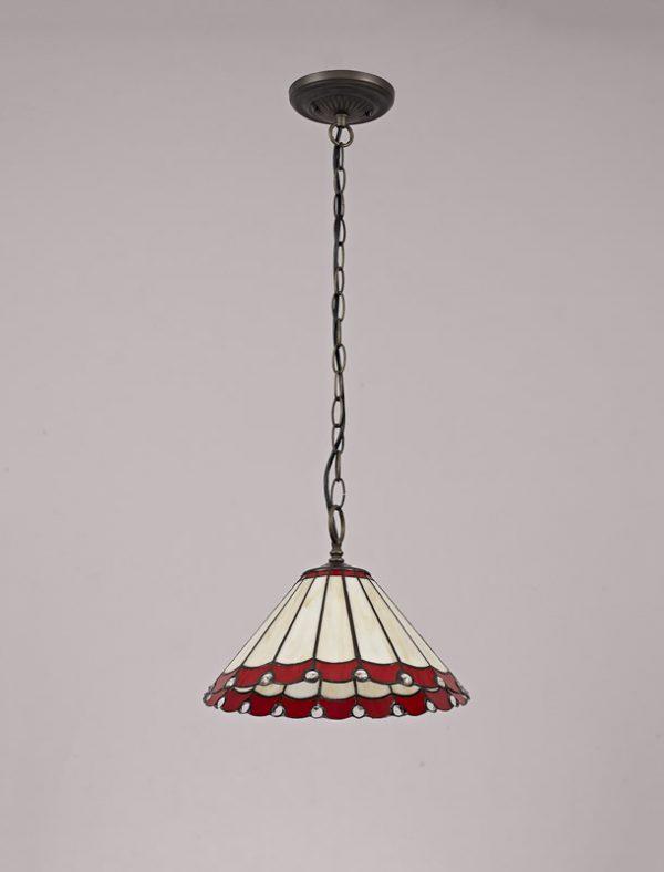 Lichfield Lighting St John 1 Light Downlighter Pendant E27 With 30cm Tiffany Shade, Red/Credlock/Crystal/Aged Antique Brass photo 2
