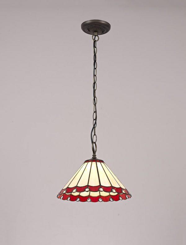 Lichfield Lighting St John 1 Light Downlighter Pendant E27 With 30cm Tiffany Shade, Red/Credlock/Crystal/Aged Antique Brass photo 3