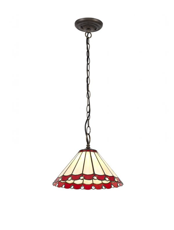 Lichfield Lighting St John 1 Light Downlighter Pendant E27 With 30cm Tiffany Shade, Red/Credlock/Crystal/Aged Antique Brass photo 1