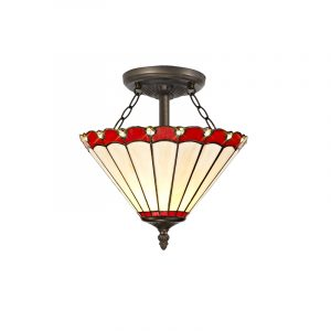 Lichfield Lighting St John 2 Light Semi Ceiling E27 With 30cm Tiffany Shade, Red/Credlock/Crystal/Aged Antique Brass photo 1