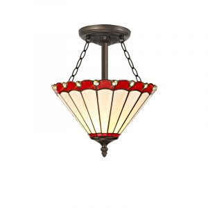 Lichfield Lighting St John 3 Light Semi Ceiling E27 With 30cm Tiffany Shade, Red/Credlock/Crystal/Aged Antique Brass photo 1