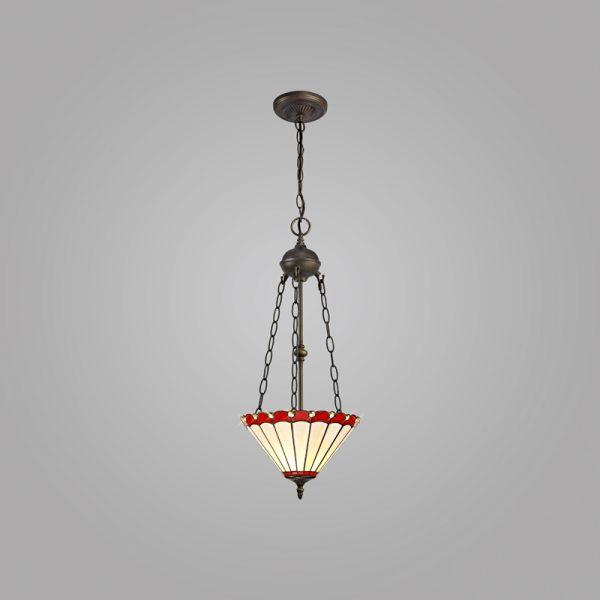 Lichfield Lighting St John 2 Light Uplighter Pendant E27 With 30cm Tiffany Shade, Red/Credlock/Crystal/Aged Antique Brass photo 2