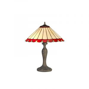 Lichfield Lighting St John 2 Light Curved Table Lamp E27 With 40cm Tiffany Shade, Red/Credlock/Crystal/Aged Antique Brass photo 1