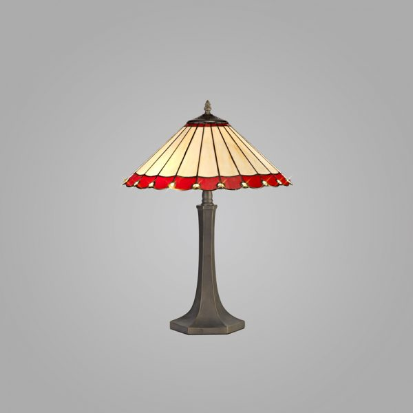 Lichfield Lighting St John 2 Light Octagonal Table Lamp E27 With 40cm Tiffany Shade, Red/Credlock/Crystal/Aged Antique Brass photo 2