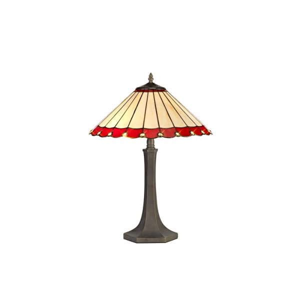 Lichfield Lighting St John 2 Light Octagonal Table Lamp E27 With 40cm Tiffany Shade, Red/Credlock/Crystal/Aged Antique Brass photo 1