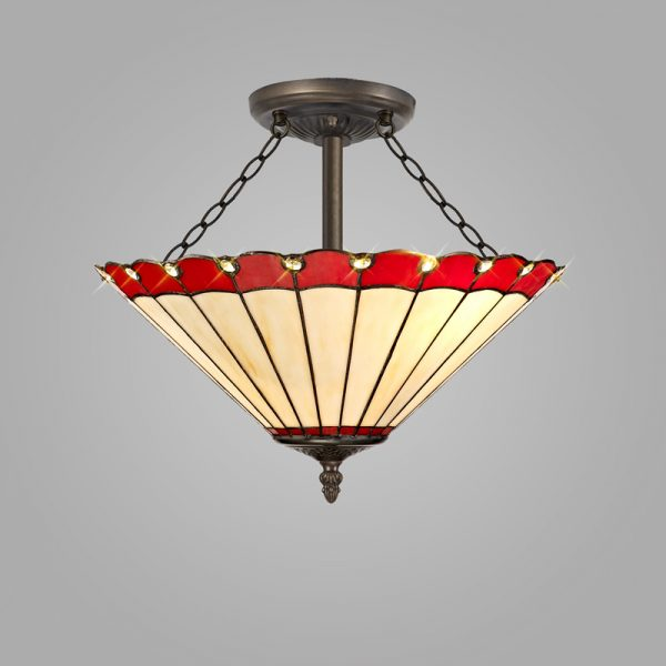 Lichfield Lighting St John 3 Light Semi Ceiling E27 With 40cm Tiffany Shade, Red/Credlock/Crystal/Aged Antique Brass photo 2