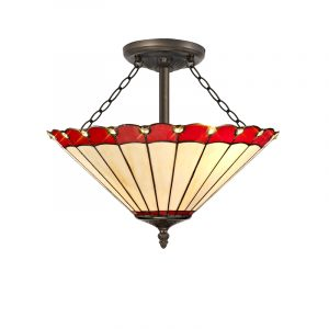 Lichfield Lighting St John 3 Light Semi Ceiling E27 With 40cm Tiffany Shade, Red/Credlock/Crystal/Aged Antique Brass photo 1