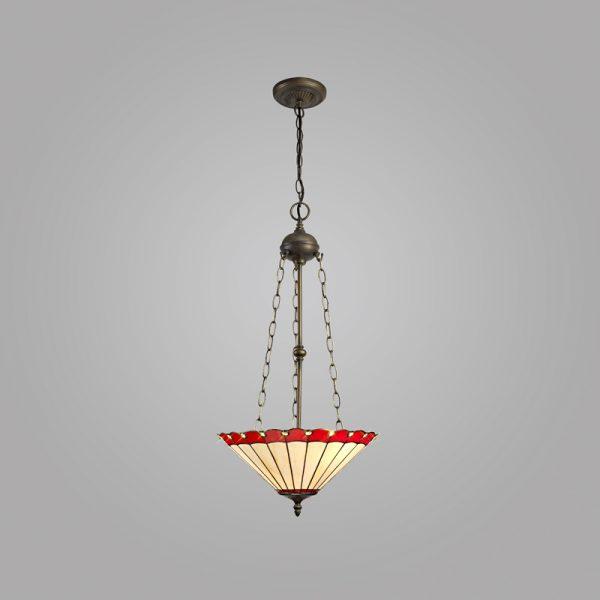Lichfield Lighting St John 3 Light Uplighter Pendant E27 With 40cm Tiffany Shade, Red/Credlock/Crystal/Aged Antique Brass photo 2