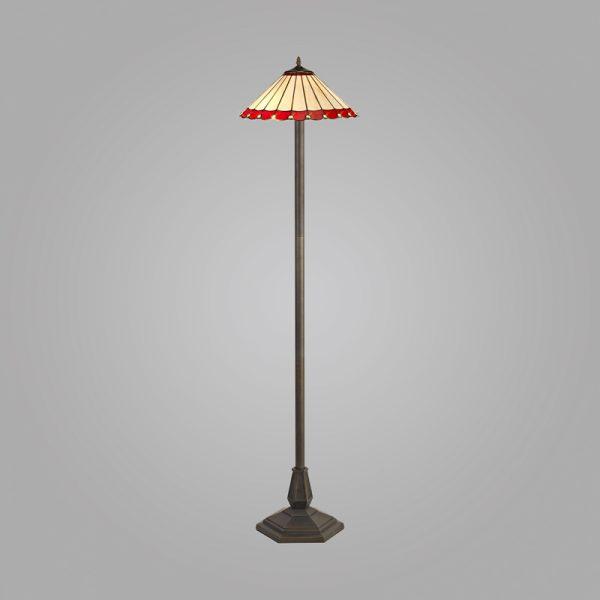 Lichfield Lighting St John 2 Light Octagonal Floor Lamp E27 With 40cm Tiffany Shade, Red/Credlock/Crystal/Aged Antique Brass photo 2