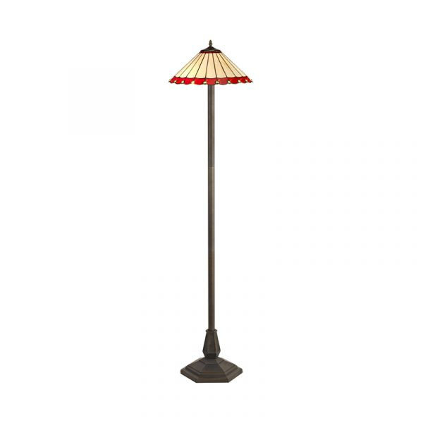 Lichfield Lighting St John 2 Light Octagonal Floor Lamp E27 With 40cm Tiffany Shade, Red/Credlock/Crystal/Aged Antique Brass photo 1