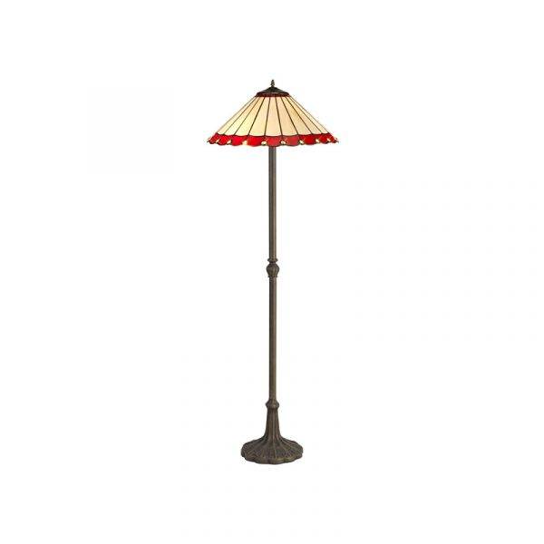 Lichfield Lighting St John 2 Light Leaf Design Floor Lamp E27 With 40cm Tiffany Shade, Red/Credlock/Crystal/Aged Antique Brass photo 1