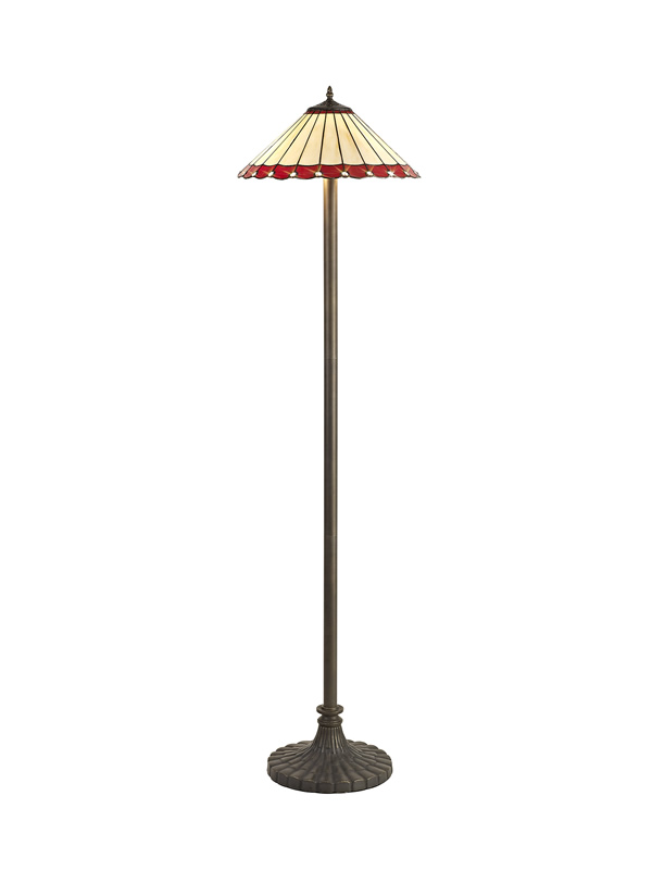 Lichfield Lighting St John 2 Light Stepped Design Floor Lamp E27 With 40cm Tiffany Shade, Red/Credlock/Crystal/Aged Antique Brass photo 1