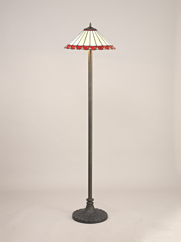 Lichfield Lighting St John 2 Light Stepped Design Floor Lamp E27 With 40cm Tiffany Shade, Red/Credlock/Crystal/Aged Antique Brass photo 2