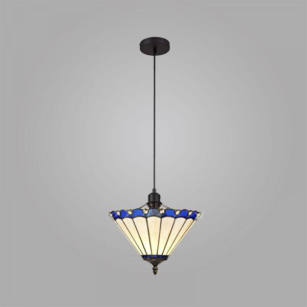 Lichfield Lighting St John 1 Light Uplighter Pendant E27 With 30cm Tiffany Shade, Blue/Credlock/Crystal/Black photo 2