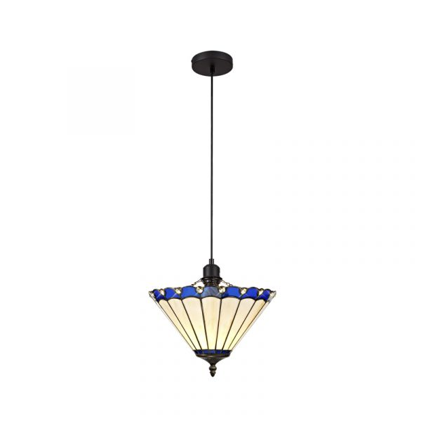 Lichfield Lighting St John 1 Light Uplighter Pendant E27 With 30cm Tiffany Shade, Blue/Credlock/Crystal/Black photo 1