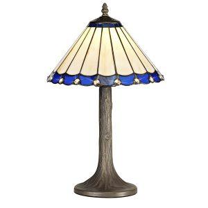 Lichfield Lighting St John 1 Light Tree Like Table Lamp E27 With 30cm Tiffany Shade, Blue/Credlock/Crystal/Aged Antique Brass photo 1