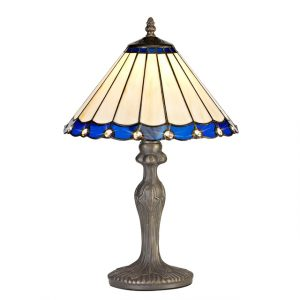Lichfield Lighting St John 1 Light Curved Table Lamp E27 With 30cm Tiffany Shade, Blue/Credlock/Crystal/Aged Antique Brass photo 1