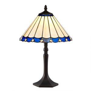 Lichfield Lighting St John 1 Light Octagonal Table Lamp E27 With 30cm Tiffany Shade, Blue/Credlock/Crystal/Aged Antique Brass photo 1