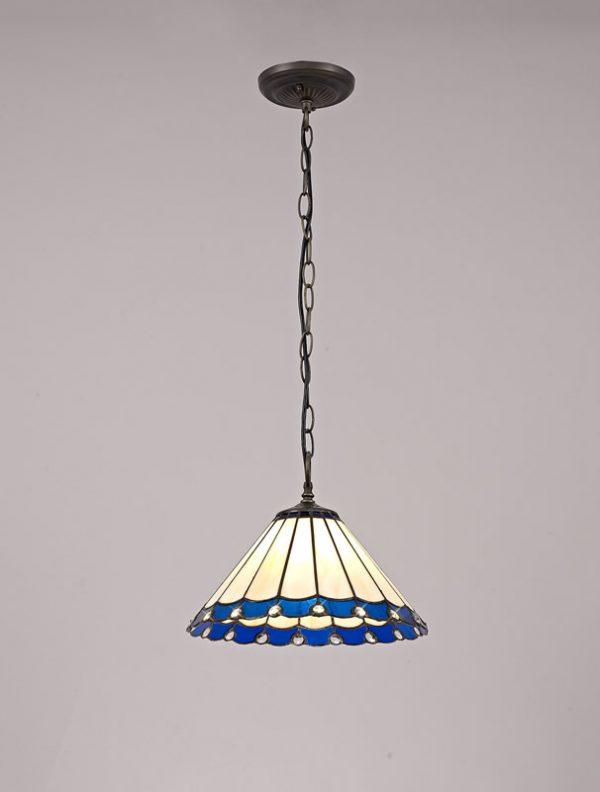 Lichfield Lighting St John 1 Light Downlighter Pendant E27 With 30cm Tiffany Shade, Blue/Credlock/Crystal/Aged Antique Bras photo 2